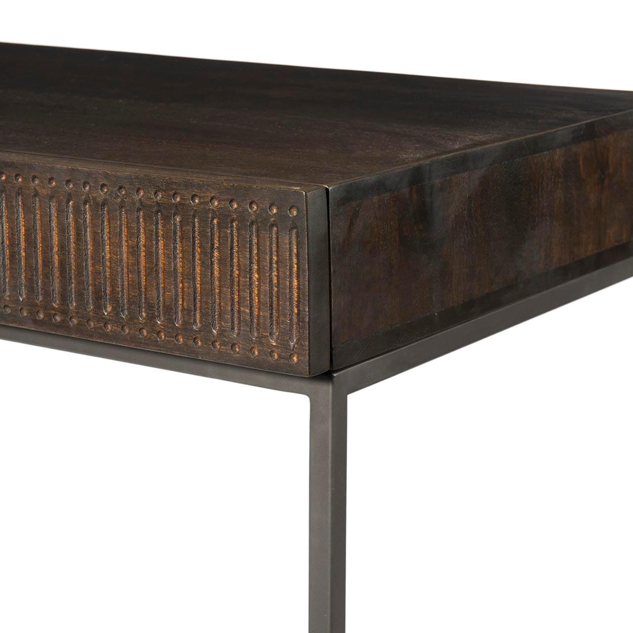 Bauer Writing Desk - Carved Vintage Brown