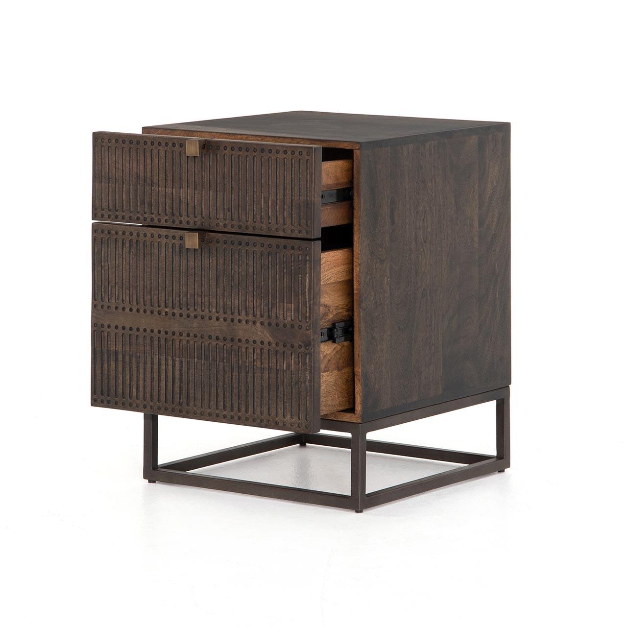 Bauer Filing Cabinet - Carved Vintage Brown