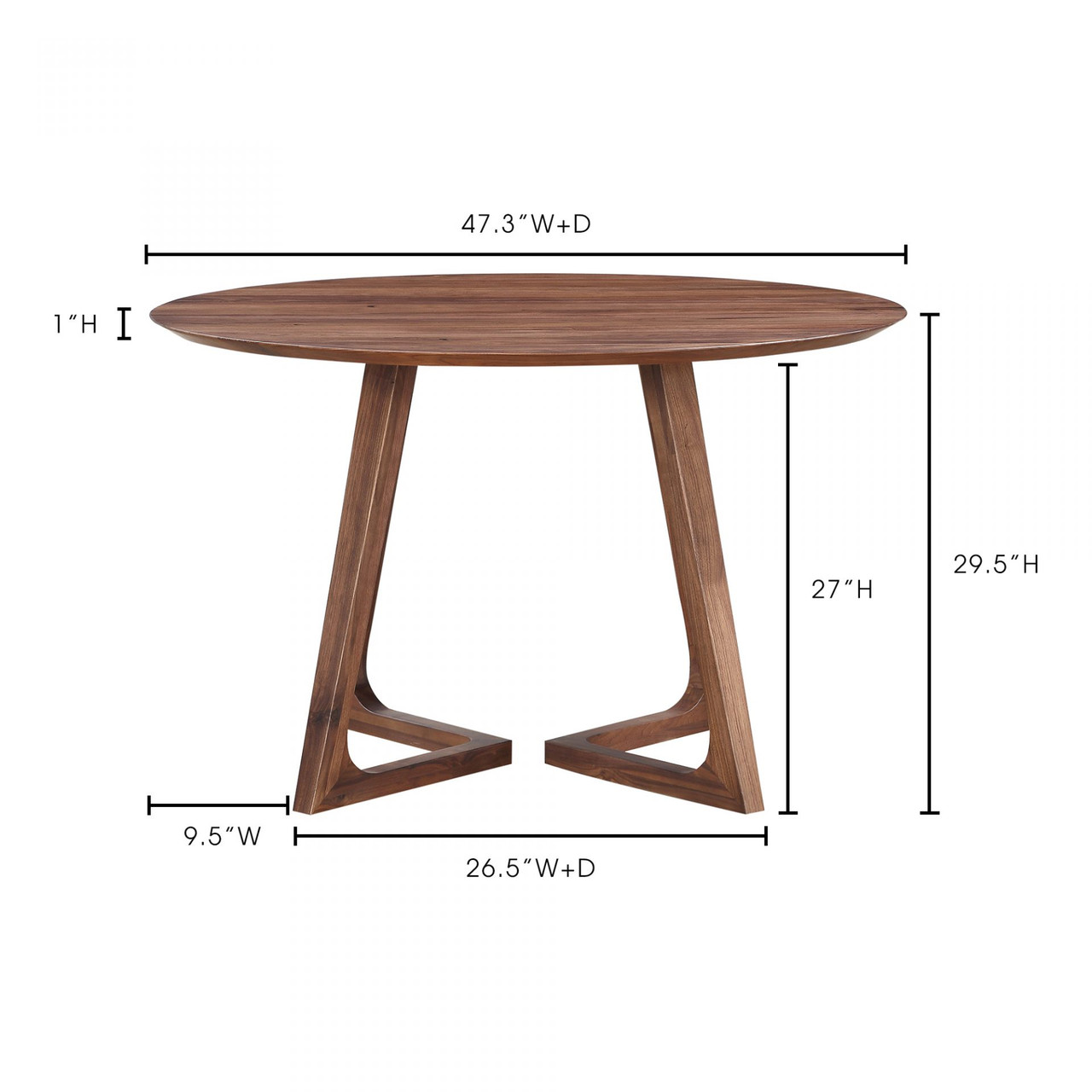 Agueda Dining Table Round Walnut