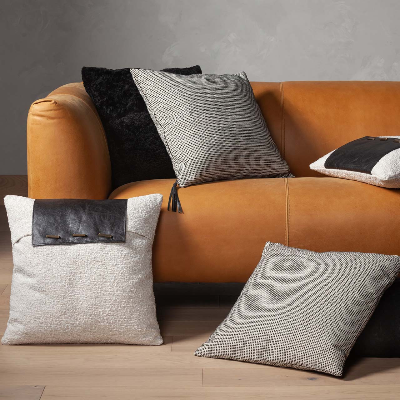 Boucle And Leather Pillow - Set of 2