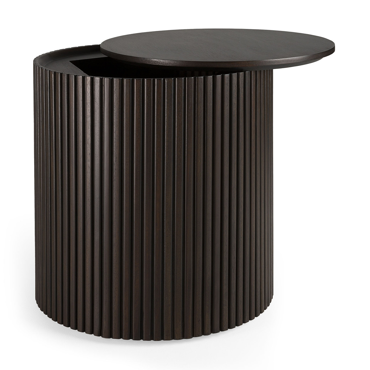 Mahogany Roller Max Dark Brown Round Side Table