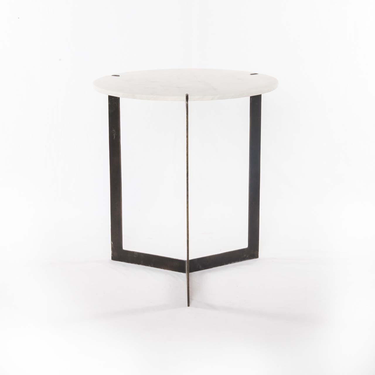 Kive End Table-Polished White Marble