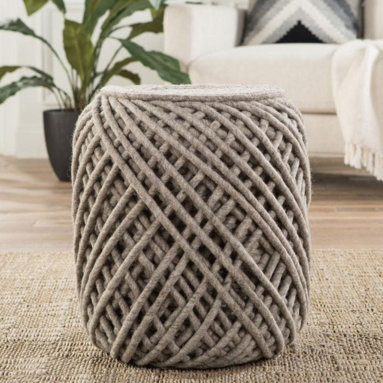 Nautica Wool Pouf - Light Gray