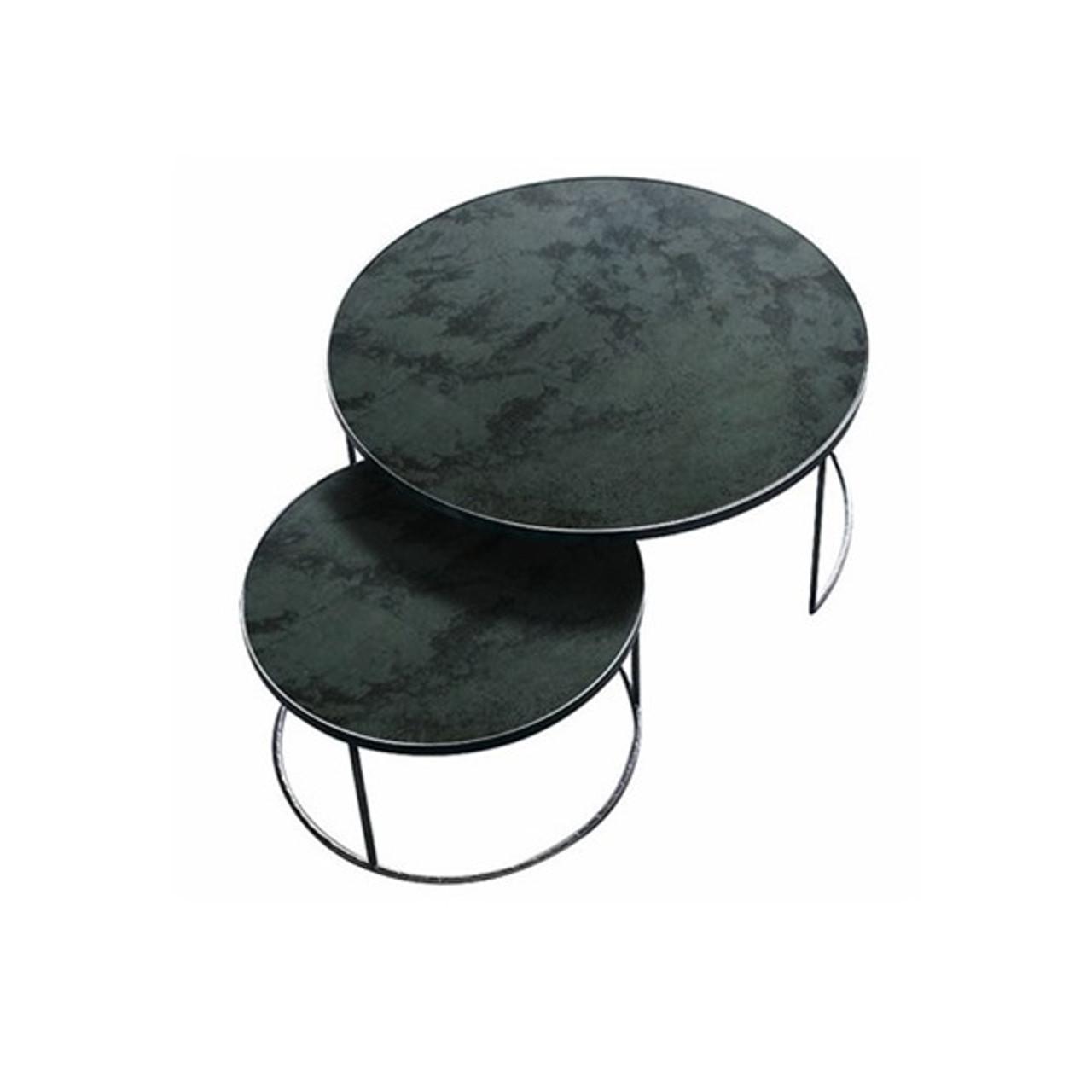 Round Nesting Coffee Tables Vintage Mirror & Metal