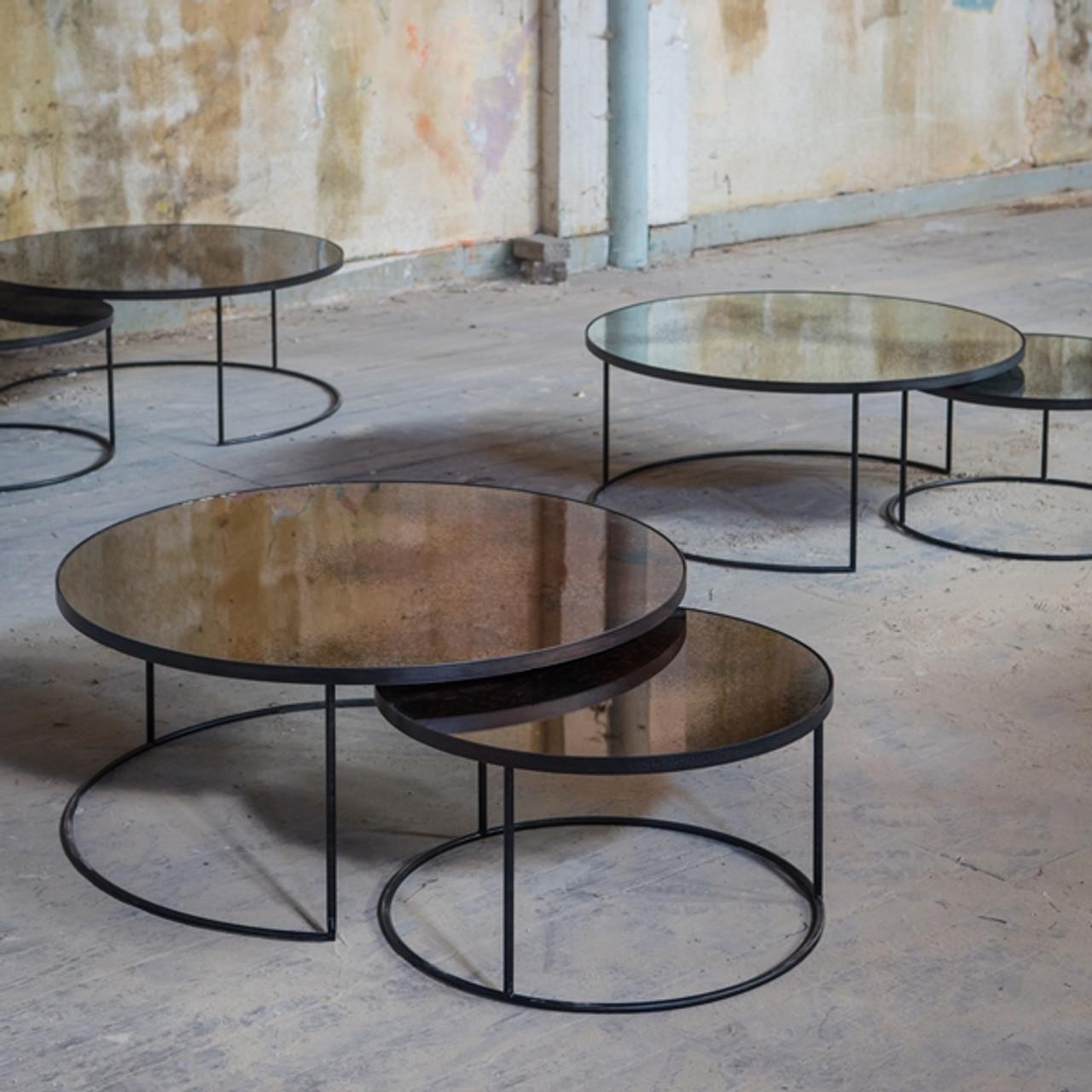 - Round Nesting Coffee Tables Vintage Mirror & Metal Clutch Modern