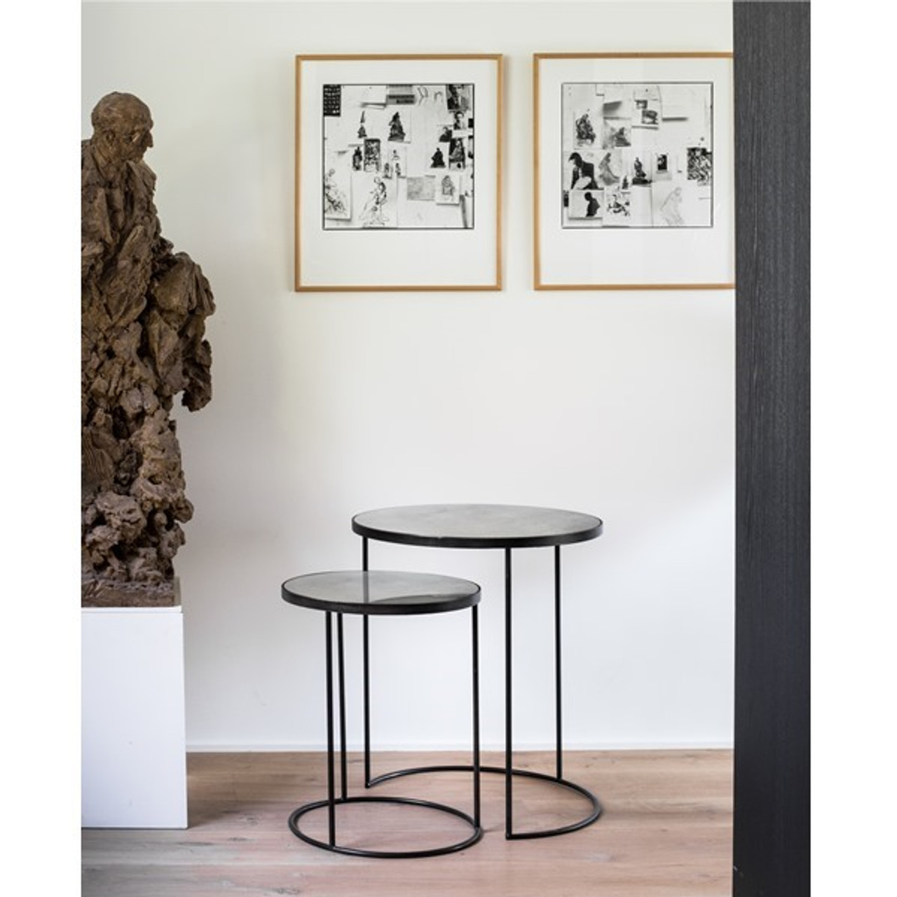 Bronze Mirror Round Nesting Side Tables