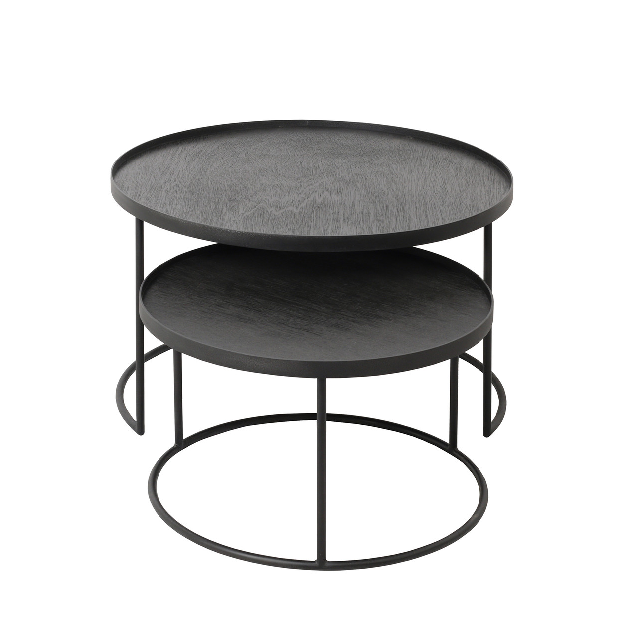 Round Nesting Tray Tables Set Low