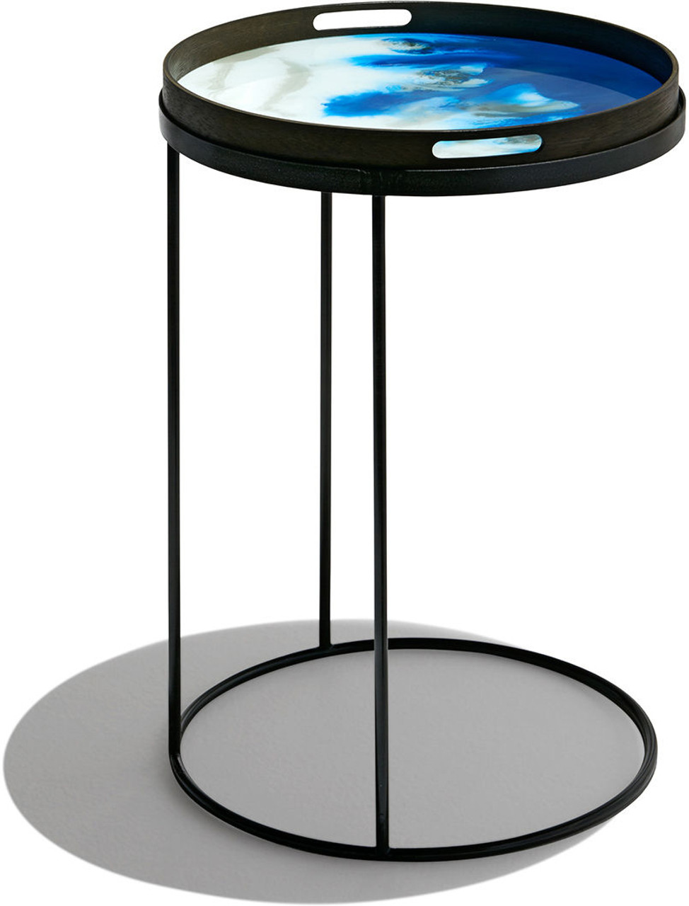 """Round Tray Metal Frame Side Table - 19"""" Diameter"""