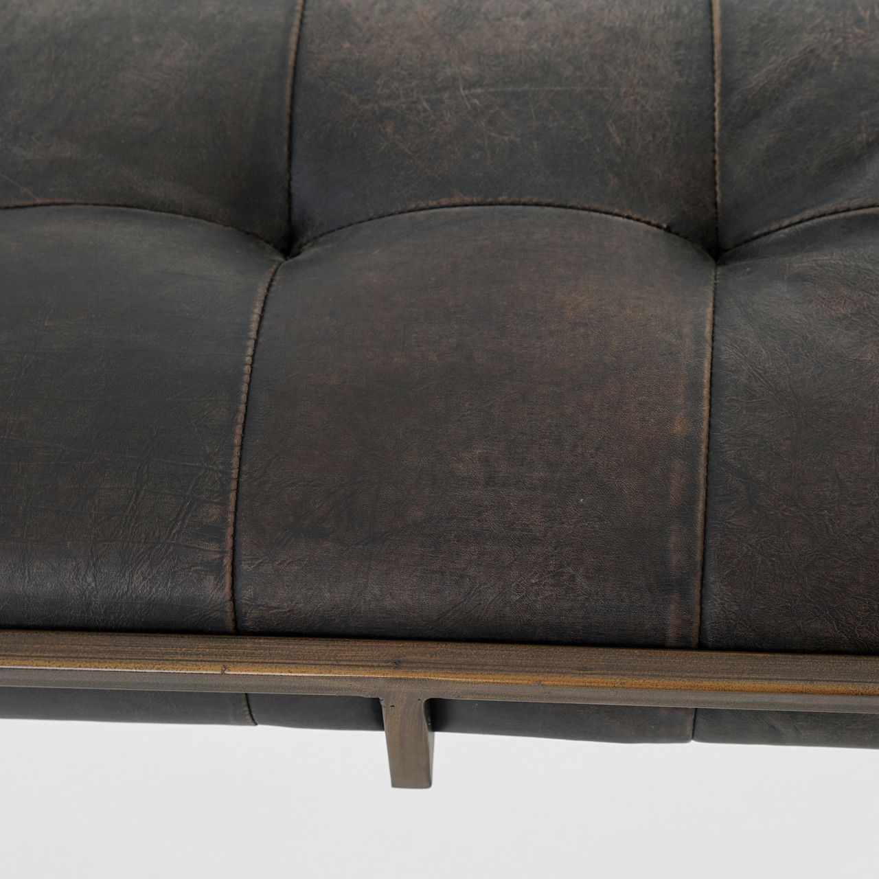 Saddle Leather Coffee Table Ottoman