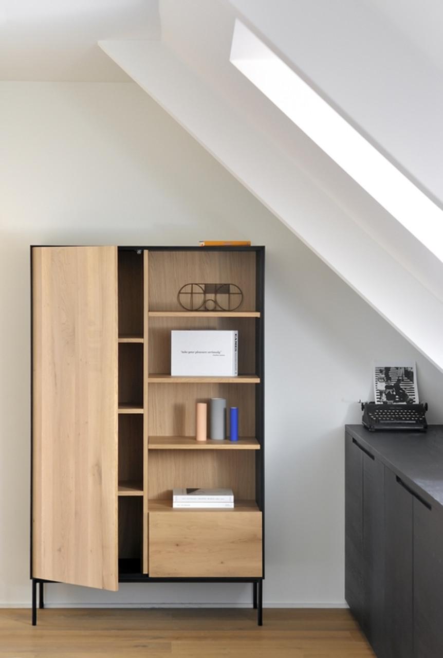 Azura Light Oak and Black Tall Storage Cabinet
