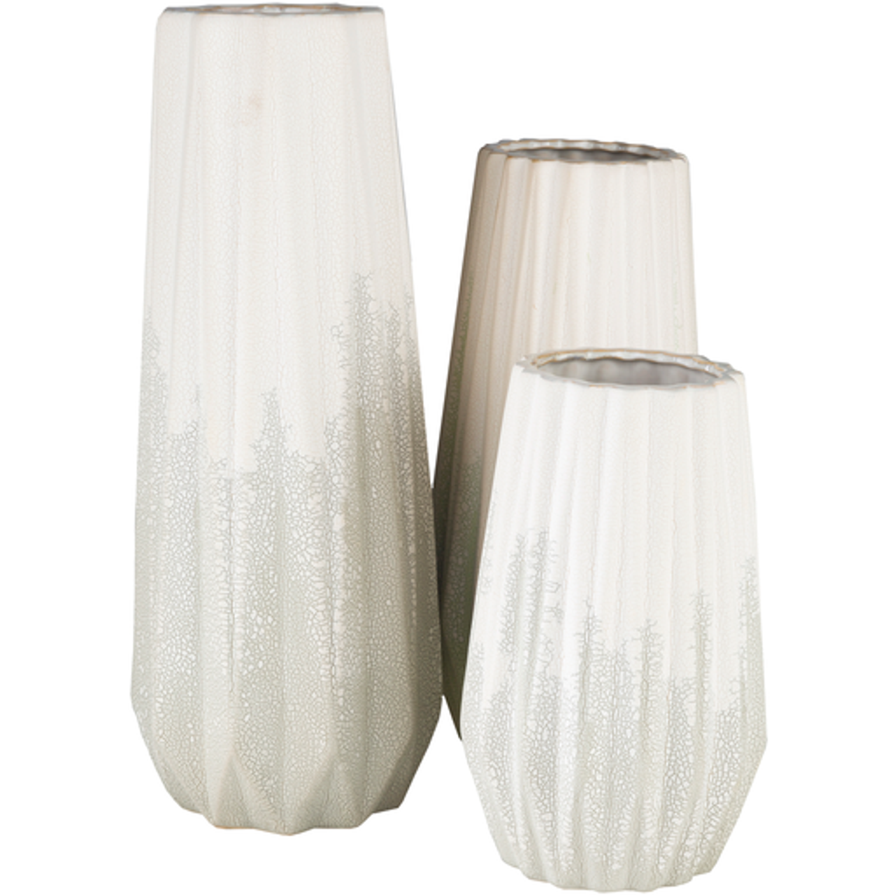 Colette Crackle Distressed White Vase