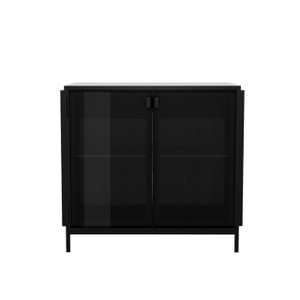Anders Smoked Glass and Metal Framed Sideboard Buffet with Storage