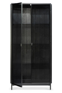 Anders Black Metal Glass Tall Hutch Storage Cabinet
