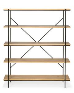 Oak Blackened Steel Rise Modern Book Shelf