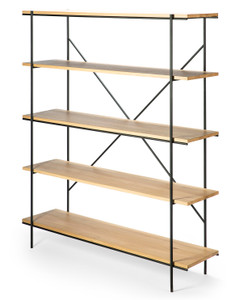 Oak Blackened Steel Rise Modern Book Shelf