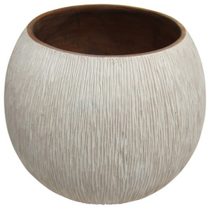 Mango Wood Hand Chiseled Vase - Low