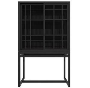 Modern Black Oak Aves Storage Cabinet