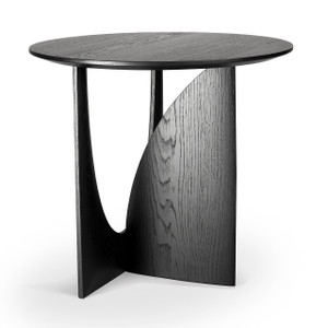 Asymmetric Round Oak Side Table