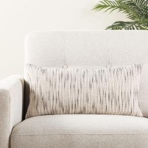Woven Natural Linen and Black Lumbar Pillow