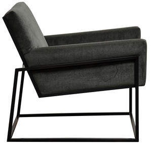 Curtis Black Metal Frame Charcoal Grey Velvet Armchair