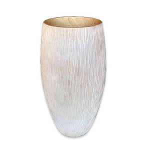 Mango Wood Chiseled Vase - High