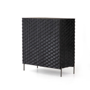 Raffael Bar Cabinet Carved Black Wash