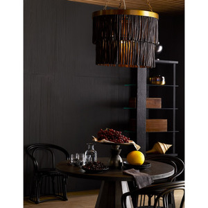 Rya Pendant Antique Brass Hand-carved Wood Batons