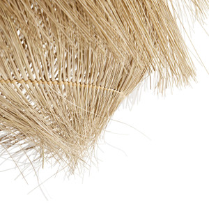 Buri Pendant Natural Woven Midribs, Antique Brass