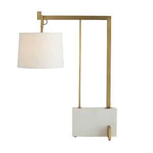 Loti Lamp Antique Brass, Faux Marble, White Linen