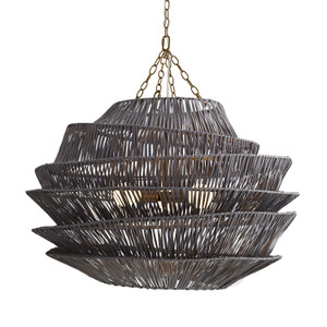 Arton Pendant Dark Gray Wash, Antique Brass Iron