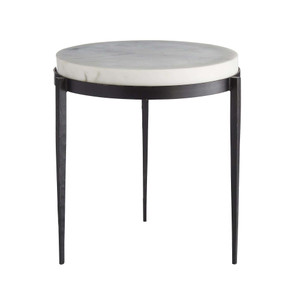 Elise Side Table Black Iron Legs, White Marble Top