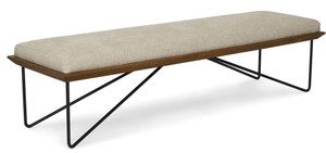 Ellen Bench Solid Teak Iron Base Performance Fabric