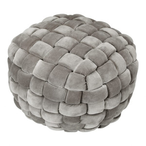 Izzy Pouf  Charcoal or Chartreuse Thick Cable Weave