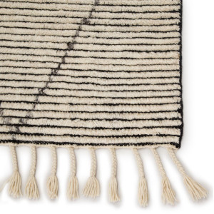 Alpine White Wool Area Rug with Braided Fringe