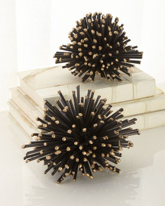 Sea Urchin Black Metal Sculpture with Gold Tips