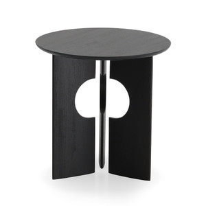 Teak Cove Black Round Side Table