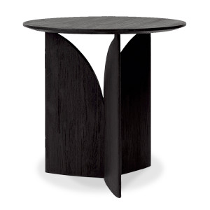Teak Fin Black Round Side Table