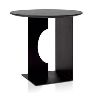 Teak Arc Black Round Side Table