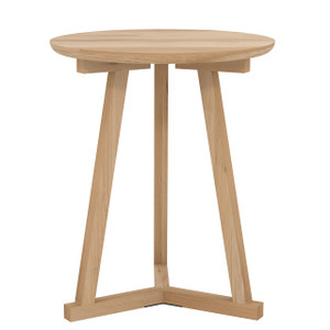 Oak Tripod Round Side Table 18""