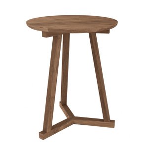 Teak Tripod Round Side Table 18""