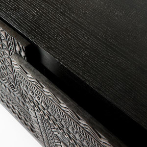Tenaya Black Teak Carved Media Cabinet