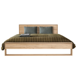 Oak Nordic Modern Wood Bed