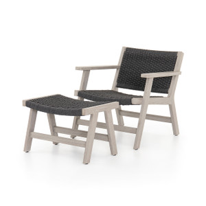 Teak Tamarack Outdoor Lounge Chair + Ottoman - Charcoal Grey