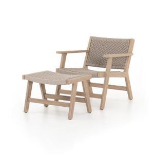 Teak Tamarack Outdoor Lounge Chair + Ottoman - Sand