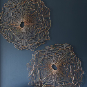 Poppy Flower Dimensional Wall Art Copper