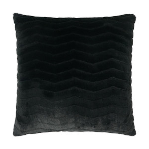 Lush Faux Fur Chevron Throw Pillow - Black