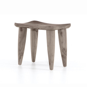 Zuri Outdoor Stool - Weathered Grey Teak