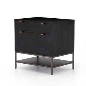 Travis Modular Filing Cabinet - Black + Leather Pulls