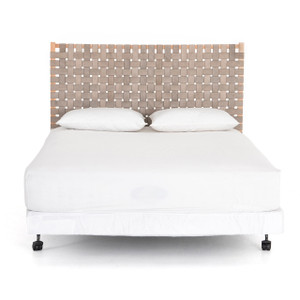 Llano Woven Headboard - Smoke Grey Leather