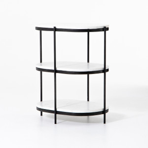 Felix Oval Nightstand - Hammered Grey W/Cl